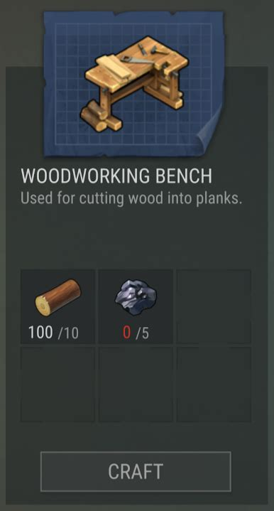 woodworking bench  day  earth survival wiki