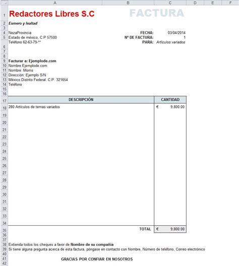 ejemplo de factura en excel