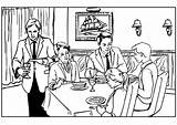 Restaurant Coloring Table Pages Printable Press sketch template