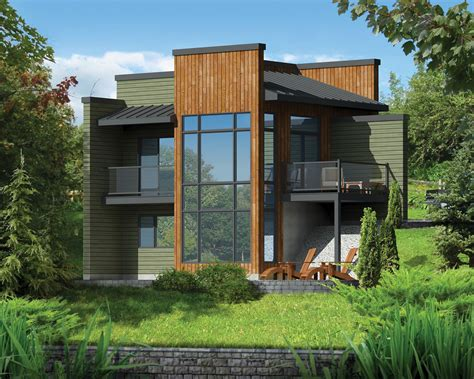 modern 1 house plans modern getaway for a front sloping lot 80816pm