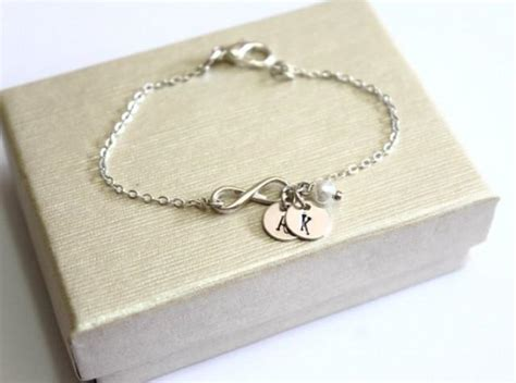 silver infinity braceletpersonalized silver discs couples initials monogram charms mother