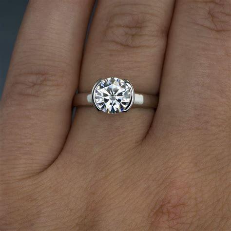 moissanite half bezel engagement ring wave wedding band bridal