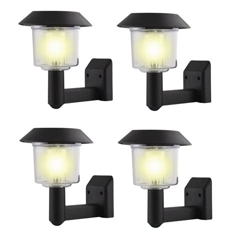 4 x solar power wall light fence led outdoor lighting