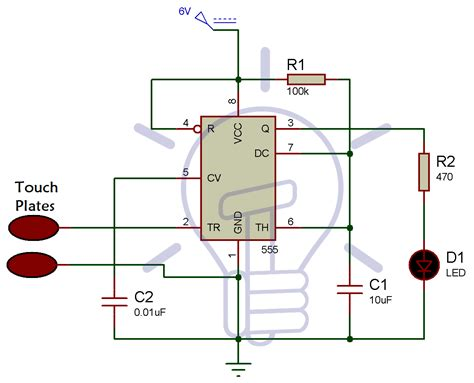 Simple Touch Sensitive Switch Circuit Using Timer