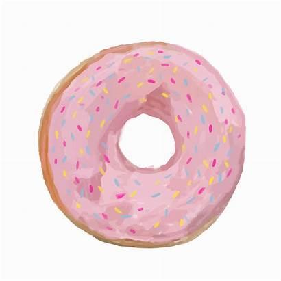 Donut Drawn Watercolor Hand Vector Vecteezy Clipart