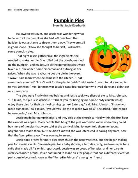 Reading Comprehension Worksheet  Pumpkin Pies