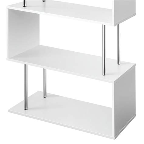 Buy White Shelves by 5 Tier Shelf Maze Display Bookcase In White Chrome Buy