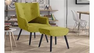 Repose Pied Salon : fauteuil de salon design en tissu avec repose pieds falk gdegdesign ~ Teatrodelosmanantiales.com Idées de Décoration