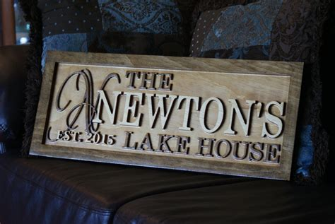 Personalized Lake House Sign Wood Plaque Custom Carved 3d