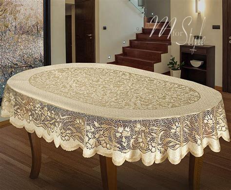Oval Tablecloth Heavy Lace Cream Golden Beige Large