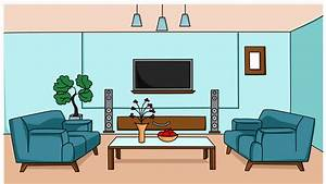 living room sketch illustration hand drawn animation ...