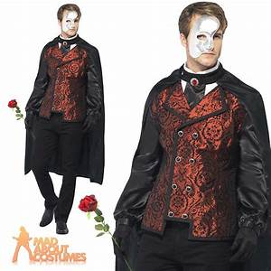 Adult Dark Phantom of the Opera Masquerade Costume Mens Halloween Fancy Dress | eBay