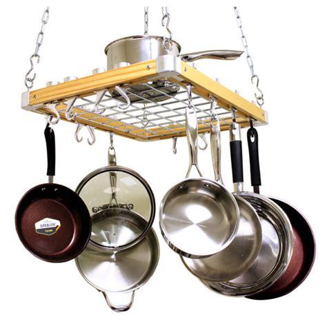 pot rack hanging kitchen set cookware pots pans shelf hooks holder cooktops wood ebay