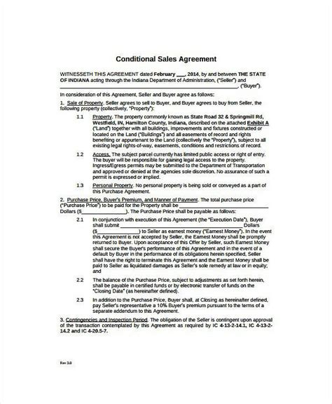 conditional sale agreement templates  docs
