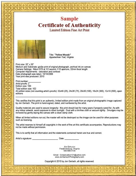 Certificate Of Authenticity Template 7 Free Sle Authenticity Certificate Templates