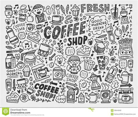 doodle coffee element background stock illustration