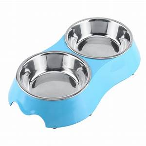 Stainless Steel Double Cat Dog Puppy Pet Water Food Feeder ...