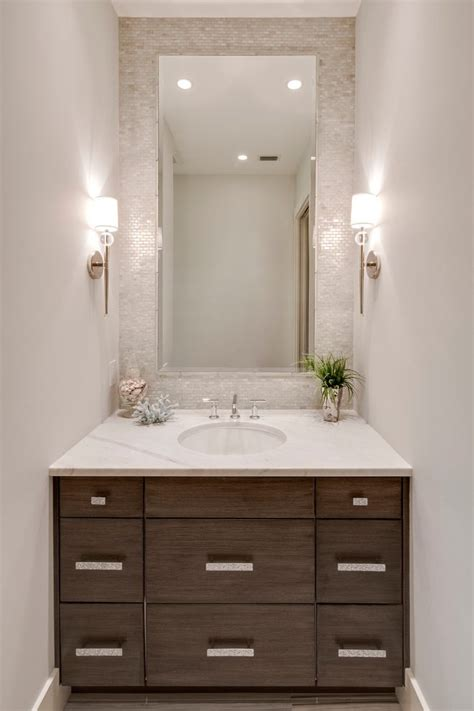Wood Looking Tile In Bathroom by Custom Made Powder Room Beach Style With White Backsplash