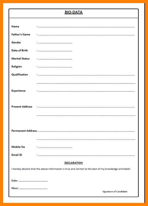 Biodata Format by 11 Biodata Sle For Application Emt Resume