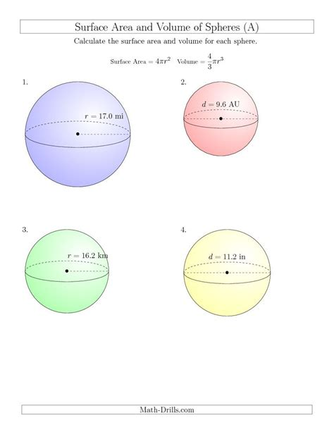 new 2015 03 23 volume and surface area of spheres one decimal place a math worksheet