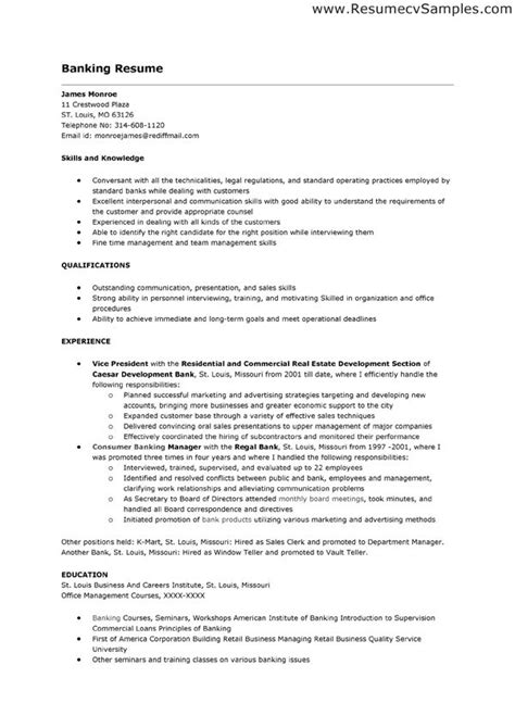 Resume Objective For Banking Operations by Sle Banking Resume Resume Format For Bank Bank