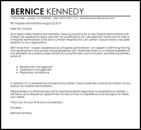 hospital administrator cover letter sle livecareer