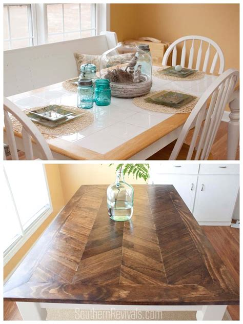 wooden table with tile top from tile top to herringbone table makeover diy wood