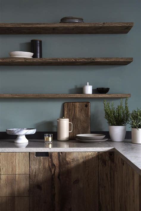dark wood kitchen cabinetry  moody grey green walls