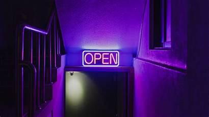 Neon Sign Purple Dark Door Laptop Background