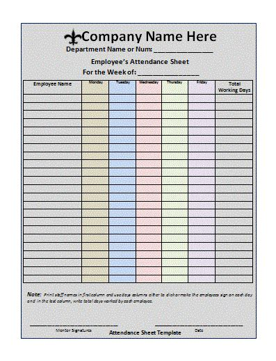 sheets templates attendance sheet template free printable word templates