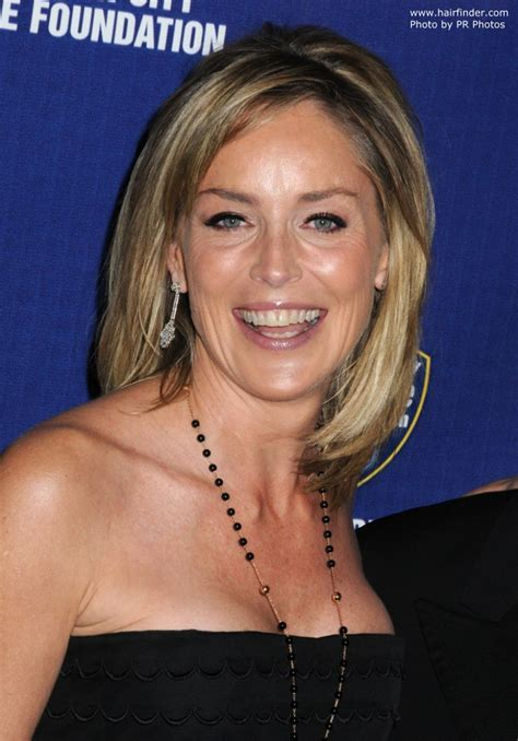 sharon stone simple  youthful  hairstyle