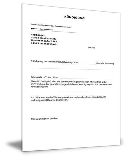 kündigung schreiben mietvertrag k 252 ndigung mietvertrag
