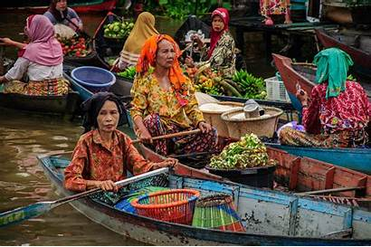 Market Floating Lok Indonesia Banjarmasin Rafting Bamboo