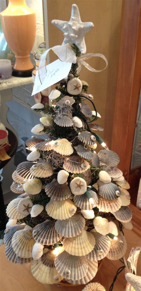 christmas tree decorated  sea shells