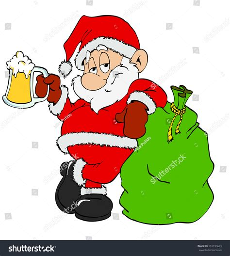 Cartoon Of Santa Drinking Beer Pictures   Inspirational Pictures