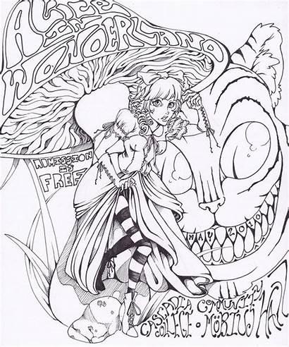 Wonderland Alice Deviantart Coloring Pages Adult Drawings