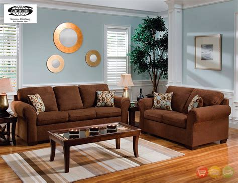 Chocolate Brown Microfiber Sofa And Love Seat Living Room