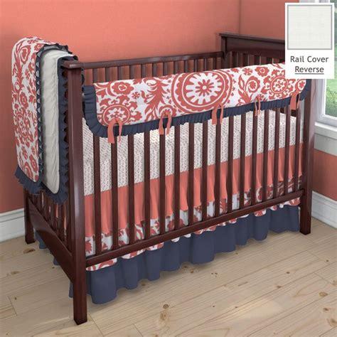coral and navy suzani nursery idea customizable crib