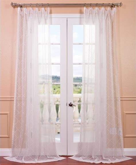 vita white embroidered sheer curtain panel