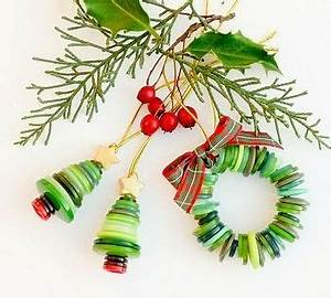 Button Christmas tree ornaments Craft Ideas