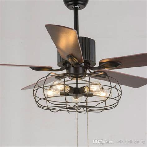 2018 loft vintage ceiling fan light e27 edison 5 bulbs