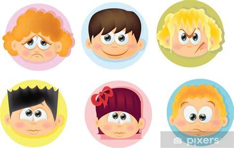 Fotomural Niños divertidos dibujos animados con emociones ...