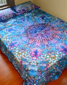 organic hand dyed queen sheet set water mandala by