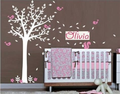 Personalised Name Birds squirrel Tree Branches Vinyl Wall