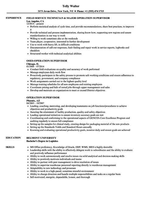 Operating Resume by Field Supervisor Resume