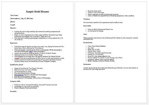 Chronological Resume Model by Modeling Resume Sle Free Modeling Resume Sle Free