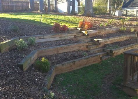 tiered backyard landscaping ideas backyard landscaping effect with tiered railroad tie wooden berm interiors exteriors