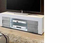 Meuble Tv Effet Beton : meuble tv blanc laqu et effet b ton design c ~ Teatrodelosmanantiales.com Idées de Décoration