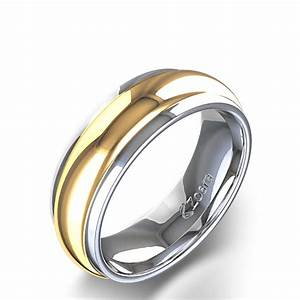 High polished men39s wedding ring in 14k white and yellow gold for Wedding gold rings for men