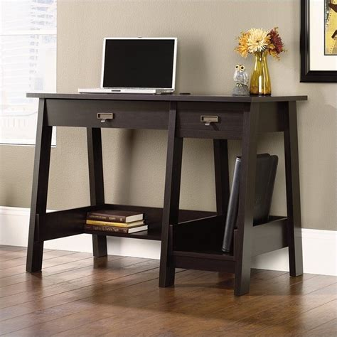 sauder executive desk jamocha sauder stockbridge executive trestle desk in jamocha wood